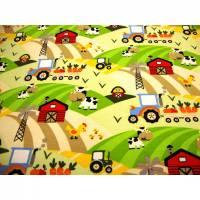 Baumwolljersey Druck Trecker, Kuh & Co auf weiss Bauernhof Leben auf dem Bauernhof Kinderstoff für Jungs und Mädchen Bild 1