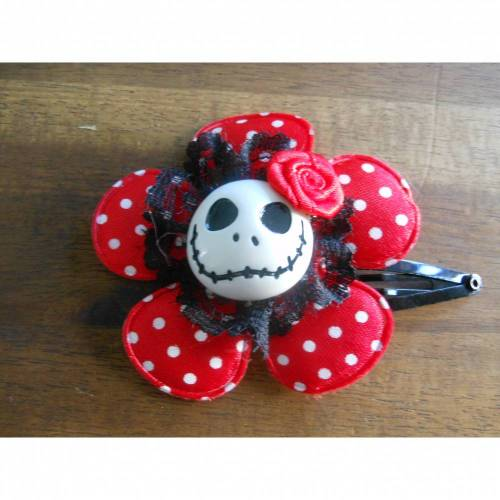 Skull  Blume Stoff polka dots Totenkopf ,Haarspange , Punkte,