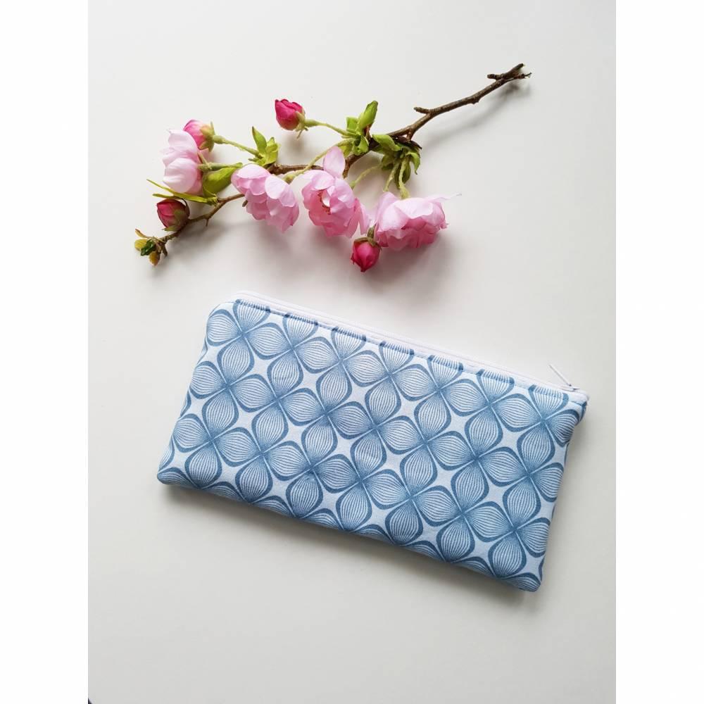 Mäppchen Federmäppchen Tasche blau geometrische Blume Bild 1