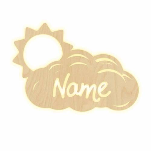 """Wandlampe """"Wolke Sonne"""" Kinderzimmer personalisierte Namen Nachtlicht Leuchte Wandleuchte Dekoration Jungen Mädchen Baby Schlummerlicht"""