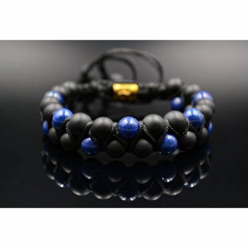 Herren Doppel-Armband aus Edelsteinen Lapis Lazuli und Onyx mit Knotenverschluss, Makramee Armband, 8 mm