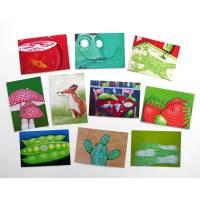 Kunztpostkarten 10er Set, Postkarten, Kunstpostkarten, Tierpostkarten, witzige Karten, Glückwunschkarte, Karte Geburtstag, Frosch Karte