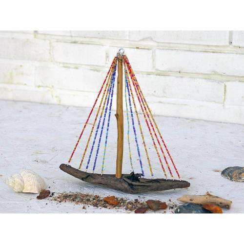 Holzboot, Segelboot, Boot aus Treibholz, Perlen, maritim, Geschenk, einzigartig, Deko, Wohndeko, mediterran, Meer,