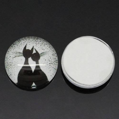 10 Cabochon, Cabochons, Glascabochons,12mm, Katze,  28877
