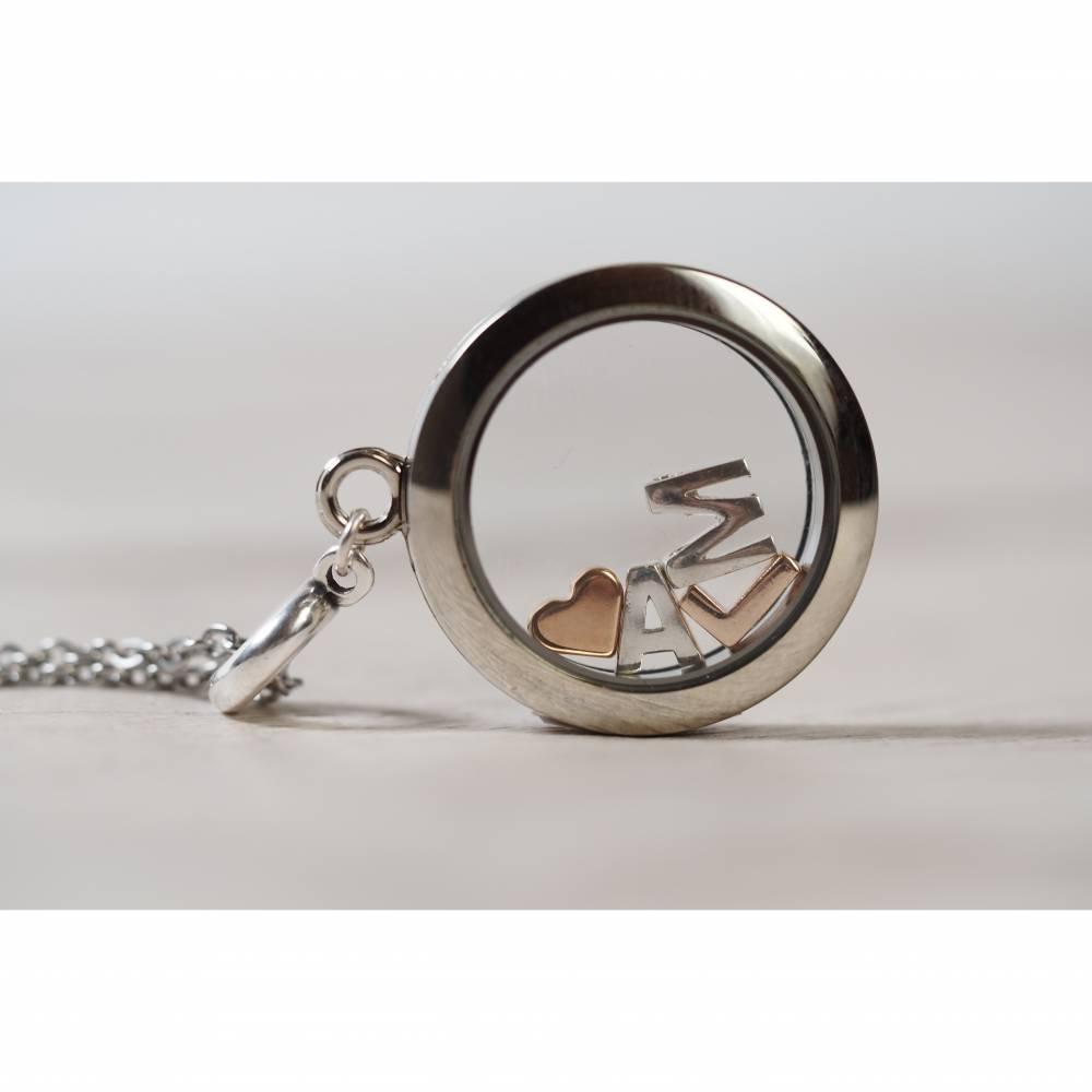 Personalisierte Damen Medaillon Kette mit Buchstaben Alphabet Halskette Bild 1
