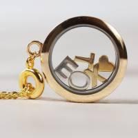 Personalisierte Damen Medaillon Kette mit Buchstaben Alphabet Halskette Bild 4