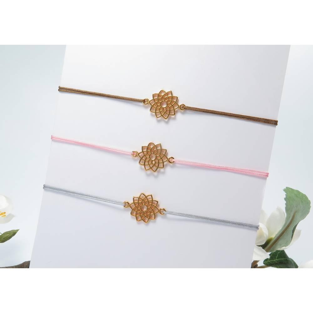 Armband Mandala rosegoldfarben Freundschaftsarmband Farbwahl 25 Farben Bild 1