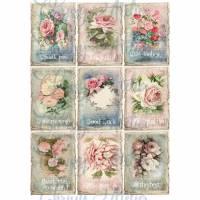 9 Aufkleber / Etikettenmit Rosenmotiven und Schriftzug -Danke & Gute Wünsche ~ A4  Motivbogen ~Shabby Motive / No.110 Bild 1