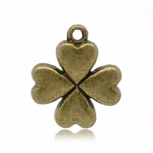 10 Anhänger, Klee, Kleeblatt, Glück, bronze, charm, charms,    14610