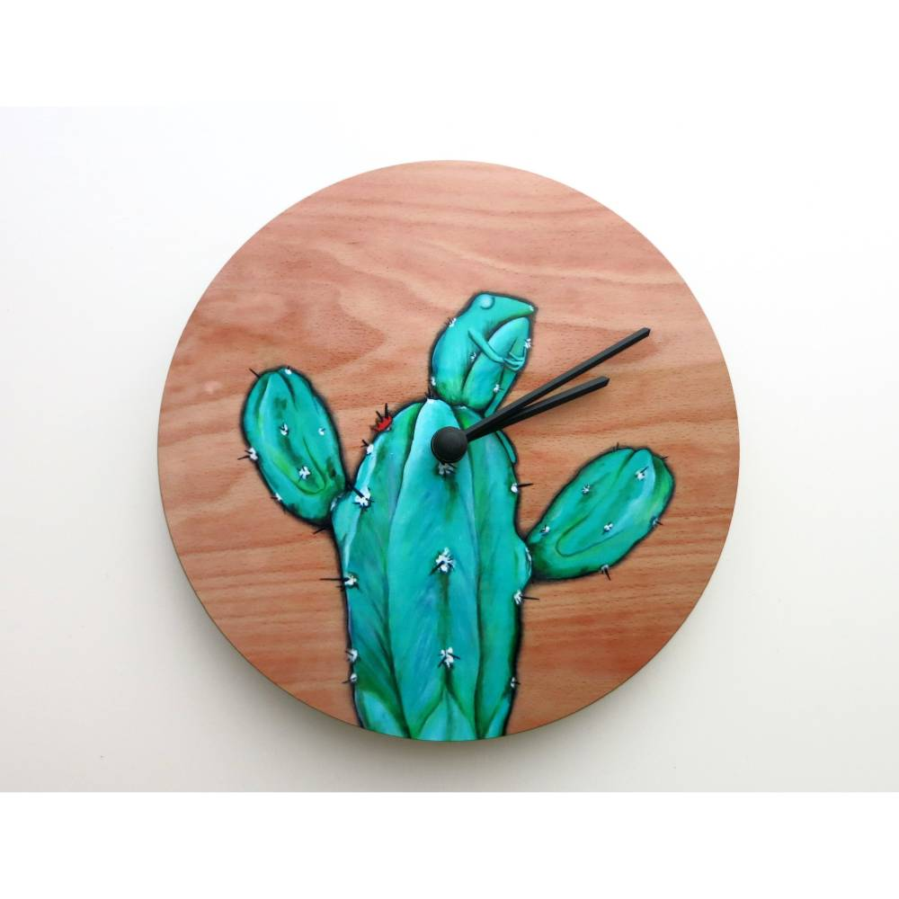 Kaktusfrosch Uhr, Wanduhr, Frosch, Lustige Uhr, Kinderzimmer, Frosch Uhr, Froschuhr, Kinder Uhr, Wohnzimmer, Büro Uhr, Uhr als Geschenk Bild 1