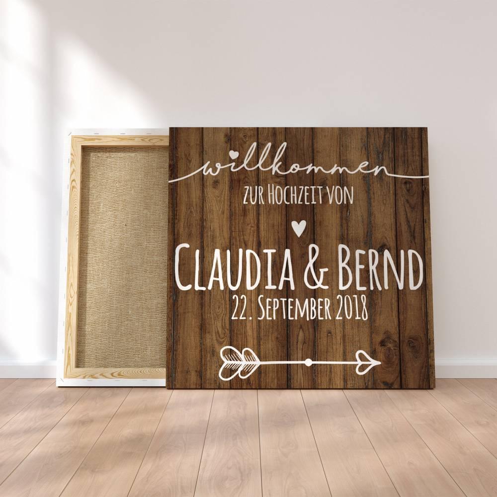 Gästebuch Hochzeit Fingerabdruck Leinwand Personalisiert Herzlich Willkommen Brautpaar Geschenk Hochzeitsdekoration Namen 50x50 cm Bild 1