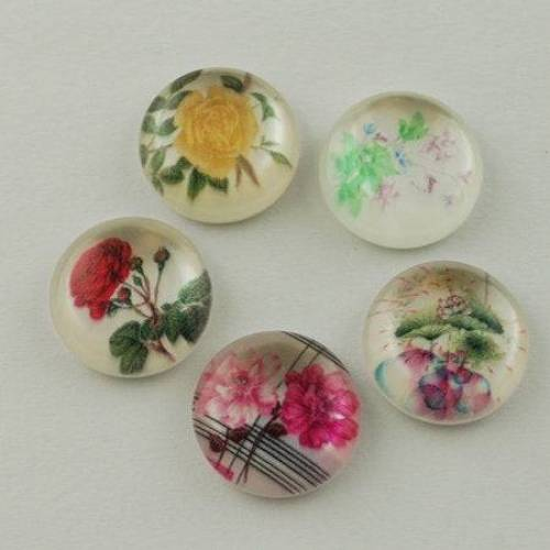 5 Cabochons, 14mm, Harz, Resin, Blumen, Romantik,  R081