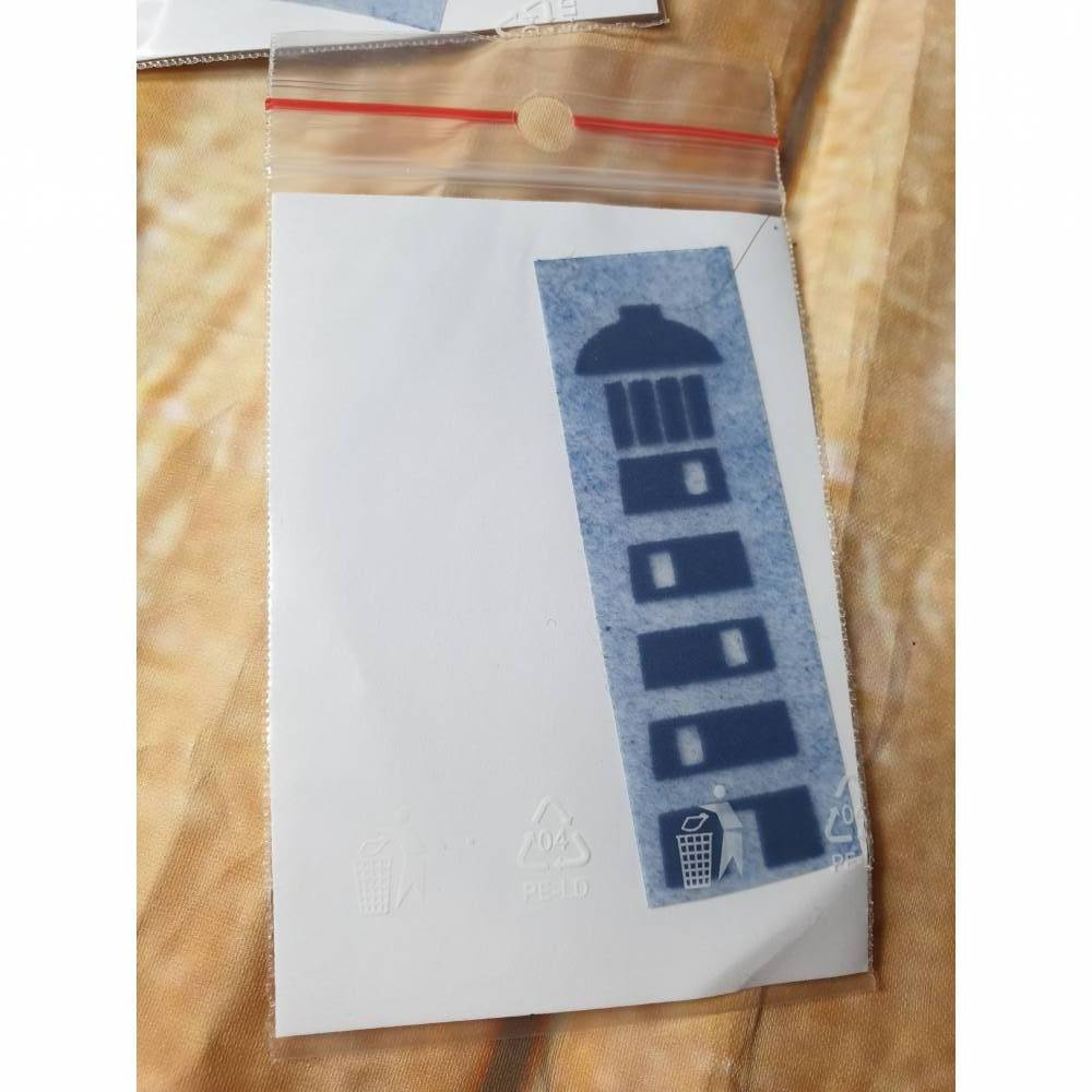 Velouraufbügler Leuchtturm blau 7 x 3 cm Bild 1