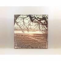 Landschaftsbild ABENDGLÜHEN auf Holz Leinwand Print Wanddeko Landhausstil Vintage Shabby Chic handmade kaufen Bild 1