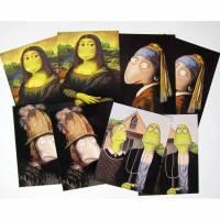 """8 KUNZTPOSTKARTEN im """"Klassiker-Set """", alte Meister, Rembrandt, Mona Lisa, Perlenohrring, Goldhelm, Kunstpostkarten, witzige Postkarten Bild 1"""
