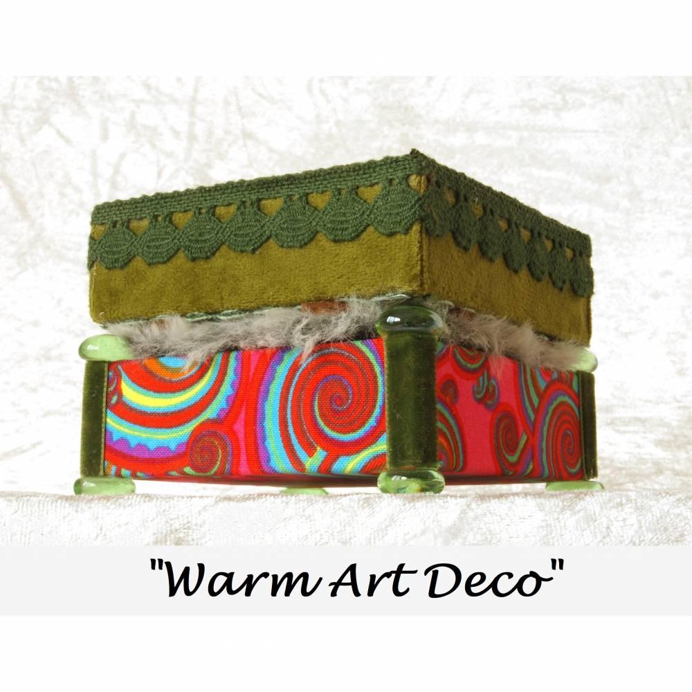 art deco pop art stilmix holz schmuckkästchen unikat personalisierbar handgefertigte schmuckbox massiv  buche schmuckschatulle kunst geschenk Bild 1