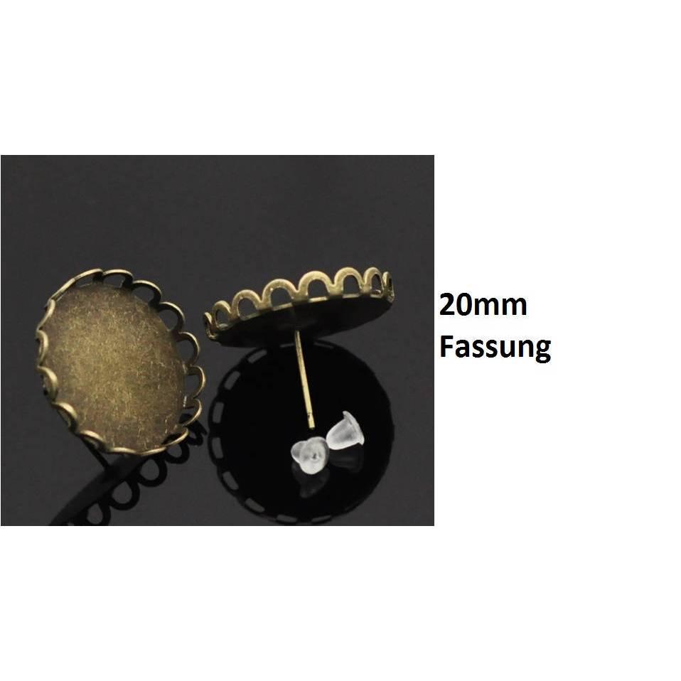 30 Ohrringe, Ohrstecker,Cabochons, Cabochon,Klebesteine, Kuppelsteine, bronze,20mm, 17259 Bild 1