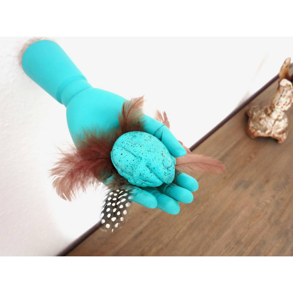 Eifrosch, Frosch, Ei, Hand Skulptur, Froschskulptur, Froschplastik, kleiner Frosch, Skulptur, Wandobjekt, Wand Deko, Frosch Deko, Objekt Bild 1