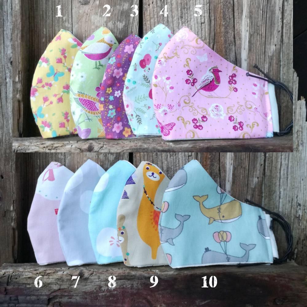MASKEN | für Kinder, in drei Größen, Breite verstellbar, waschbar, wiederverwendbar, aus Baumwolle, zweilagig, nachhaltig  Bild 1