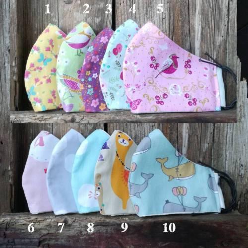 MASKEN | für Kinder, in drei Größen, Breite verstellbar, waschbar, wiederverwendbar, aus Baumwolle, zweilagig, nachhaltig