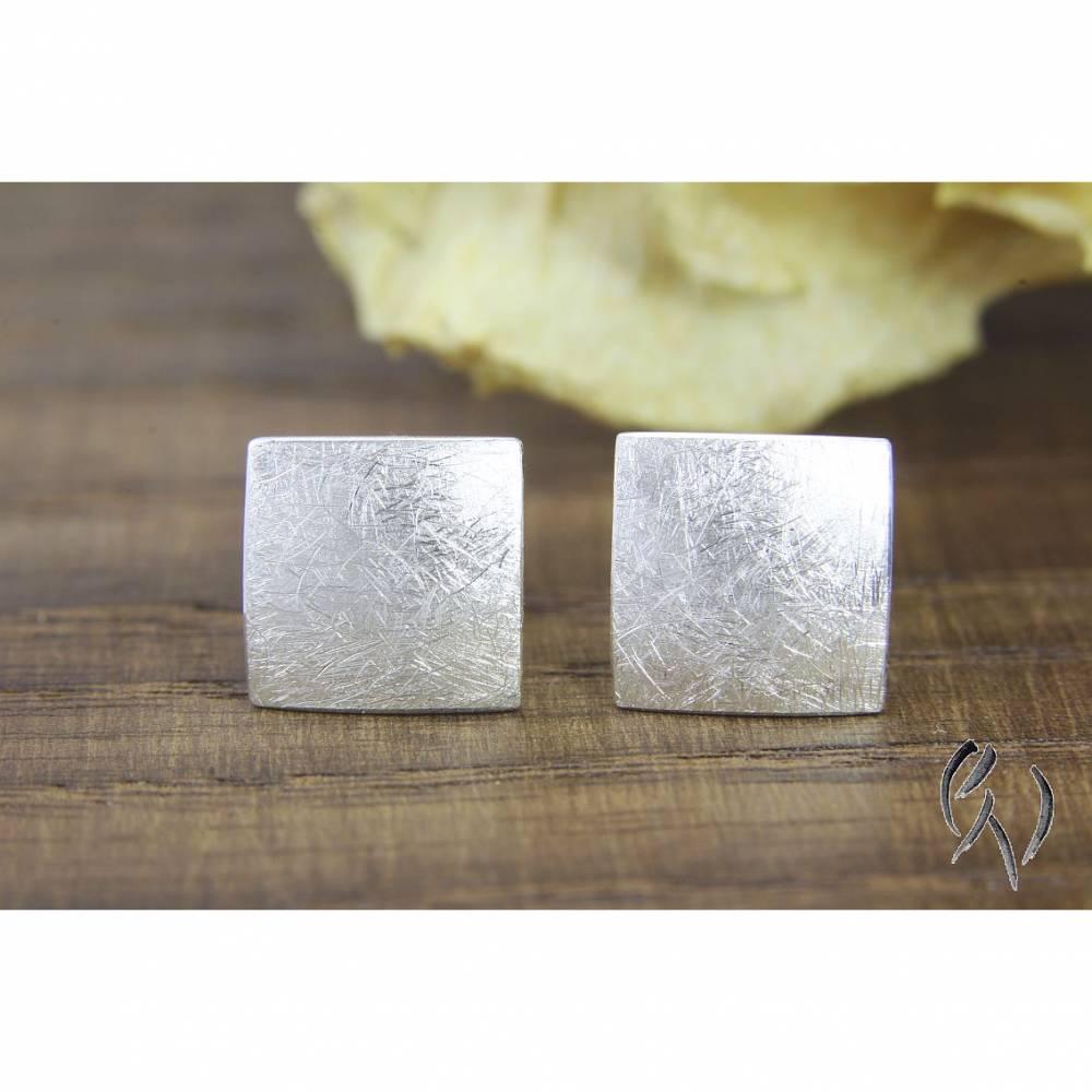 Ohrstecker Silber 925/-, Quadrat 7,5 mm, mattgekratzt Bild 1