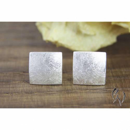 Ohrstecker Silber 925/-, Quadrat 7,5 mm, mattgekratzt