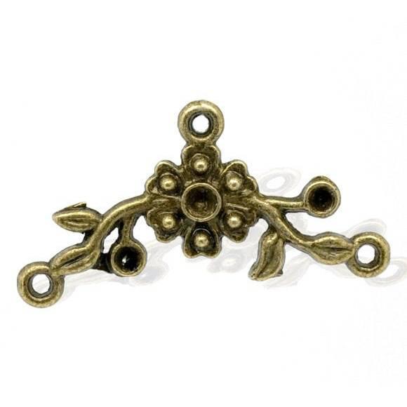 5 Verbinder, Vintage-Stil, bronze, Ast, Zweig, Blume, charm, charms, Mittelstück, Kette, Armband, 13203 Bild 1