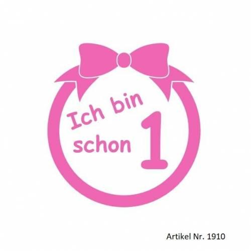 Bügelbild Geburtstag Schleife in Wunschfarbe