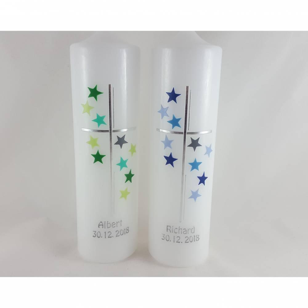 Taufkerzen Zwillinge Sterne blau grün Bild 1