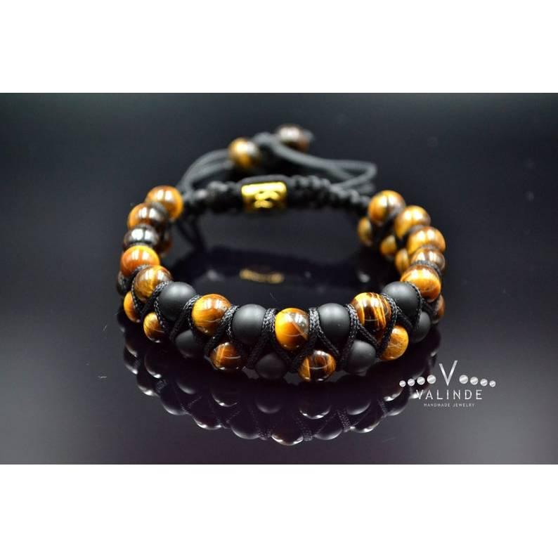 Herren Doppel-Armband aus Edelsteinen Tigerauge und Onyx mit Knotenverschluss, Makramee Armband, 8 mm Bild 1