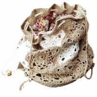 Häkeltasche mit Innenfutter Granny Hippie- Tasche City- Bag Olivgrau Wollweiß Bild 2