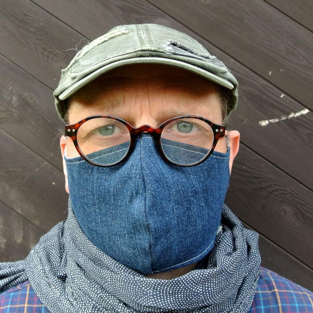 Maske   waschbar, wiederverwendbar, Blau aus Baumwolle-Jeans Upcycling Bild 1