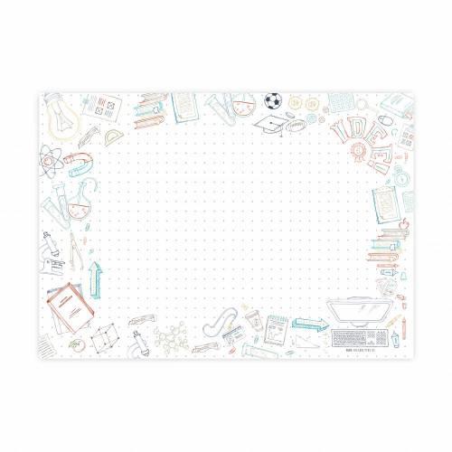 Back to School Schreibtischunterlage Papier, XXL Notizblock, A2 Block aus Papier zum Abreißen als Malunterlage oder Kritzelmatte