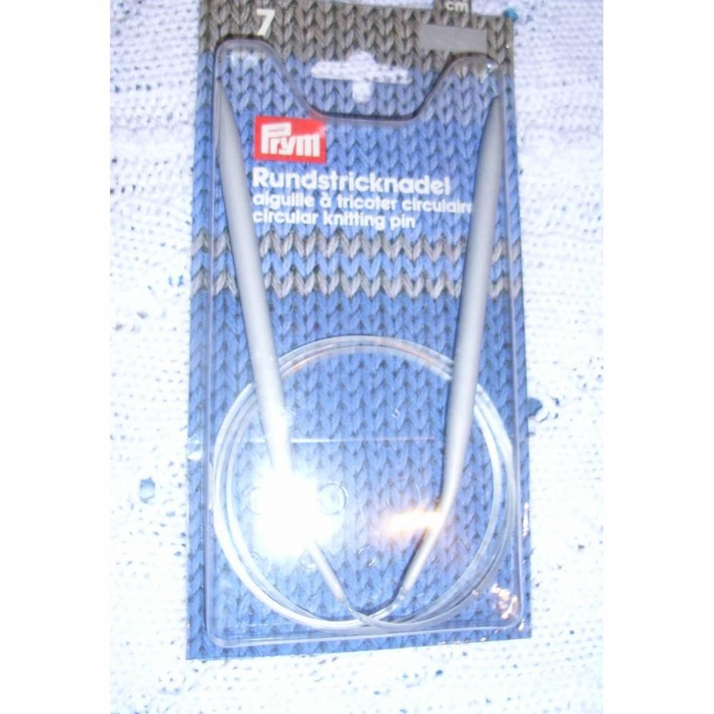 Rundstricknadel prym  Aluminium grau  Stärke 7   Länge 40 cm Bild 1