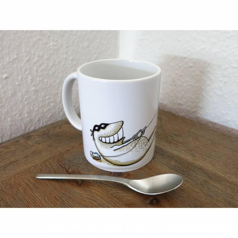 Teebeuteldieb II, Tasse, Becher, Teetasse, Kaffeebecher, witziger Becher, Tee, Teatime, Geschenk für Teetrinker, Frosch Tasse, Froschtasse Bild 1