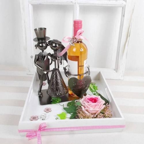 Geldgeschenk Hochzeit, Hochzeitsgeschenk, Weinflaschenhalter rosa