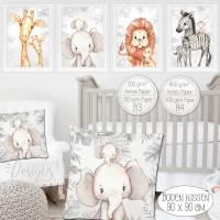 Kinderzimmer Bilder Babyzimmer Poster Deko Safari Afrika Tiere Kunstdruck Kinderbild | A4 | SET 59 Bild 1
