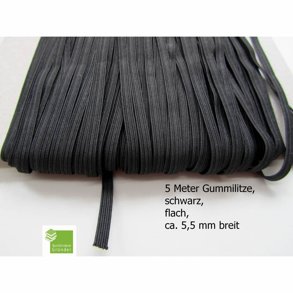 5 m Gummiband, schwarz, flach, 5 mm, Elastikband, Bastelmaterial Bild 1