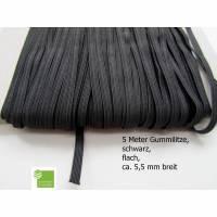 5 m Gummiband, schwarz, flach, 5 mm, Elastikband, Bastelmaterial