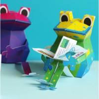 Kunterbunte Frösche Bastelbogen, Bausatz für Kinder pdf digitaler Download Ausschneidebogen, Ebook Bild 1