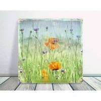 MOHNBLUMEN & KORNBLUMEN Blumenbild auf Holz Leinwand Kunstdruck*Wanddeko Landhausstil Romantisch Shabby Chic Vintage  Bild 1