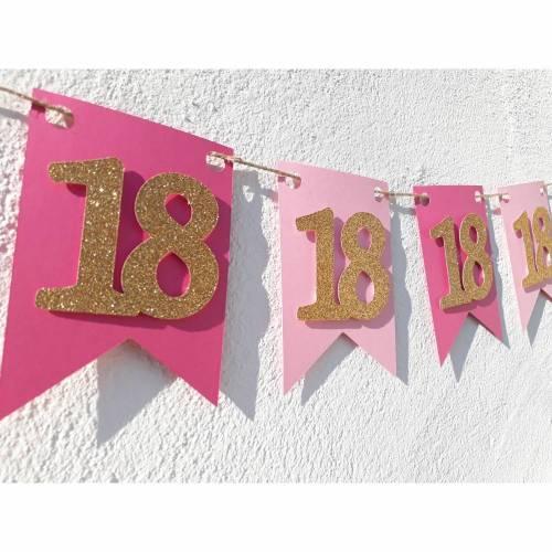 Girlande zum 18. Geburtstag Pink Rosa Gold Wimpel Endlich volljährig Wimpelkette Glitzer Gold Geburtstagsdeko