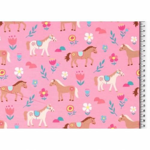 Jersey rosa bedruckt mit Pferden, Stoffe Mädchen Meterware