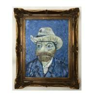 Vincent van Frosch, Van Gogh, Selbstbildnis, Selbstportrait, Filzhut, alte Meister, Van Gogh Bild, Gemälde, Frosch, Froschbild, Acrylbild Bild 1