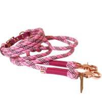 Leine Halsband Set rosa bordeaux pink weiß, für mittelgroße Hunde, verstellbar Bild 1