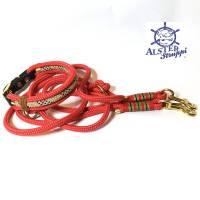 Leine Halsband Set rot beige schwarz weiß, für mittelgroße Hunde, verstellbar Bild 1