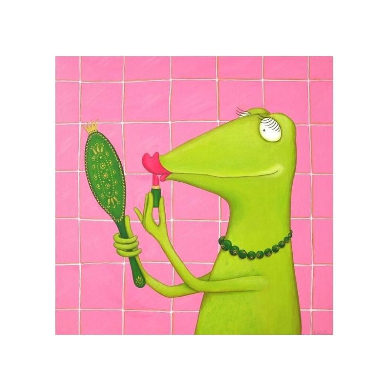 Fiona, Leinwanddruck, Frosch Bild, Froschbild, witziges Bild, Mädchenzimmer, Teenager, Make UpBild, lustiges Bild, Schminken Bild 1