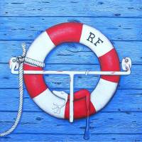 Rettungsfrosch, Leinwanddruck, Marine, Frosch, maritim, Froschbild, Bild, Froschkönig, witziges Bild, Wohnzimmer Bild, Frosch Bild, Kuh Bild Bild 1
