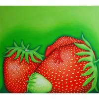 Erdbeerfrosch, Leinwanddruck, Erdbeere, Frosch, Bild für Küche, Bilder, Froschkönig, witziges Bild, Erdbeerbild. Bild Esszimmer, Stilleben Bild 1