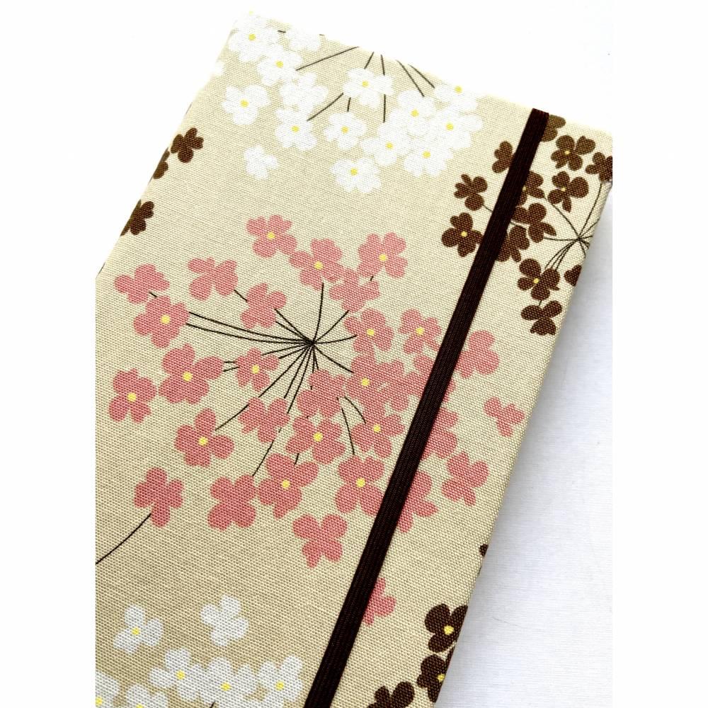 "Bullet Journal Bujo ""Blossoms"" ähnlich A5 Maße:13,2 x 21,3 cm Hardcover PUNKTKARIERT Punktraster dotted stoffbezogen Stoff Blume Blüten Geschenk Bild 1"